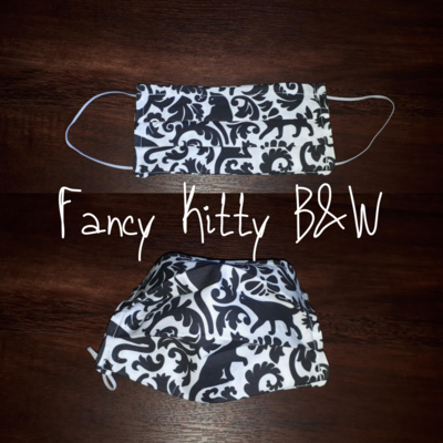 Fancy Kitty B&W - Homemade Double layer Masks with filter slot