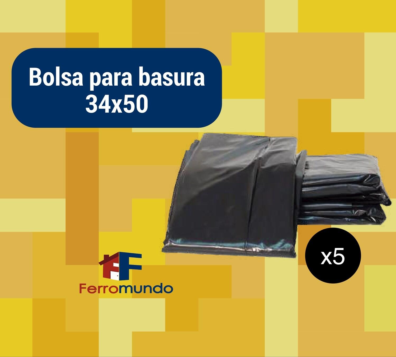 """Bolsa para basura 34x50"""" paquete 5 u."""
