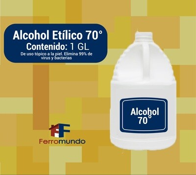 Sanitizador de manos y superficies, alcohol 70° - 1 galón
