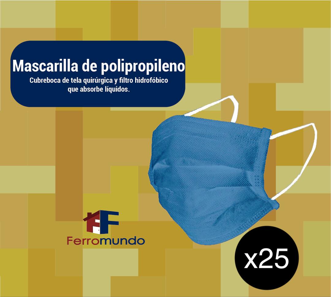 Mascarilla polipropileno reutilizable  - 25 unidades