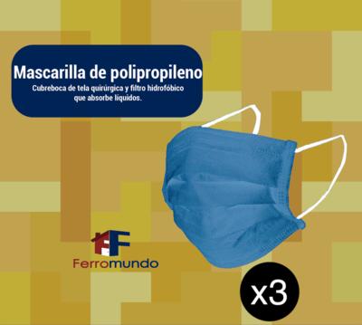 Mascarilla polipropileno - 3 unidades
