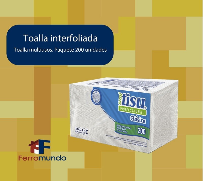 Toalla interfoliada multiusos - 2 paq. 200 u