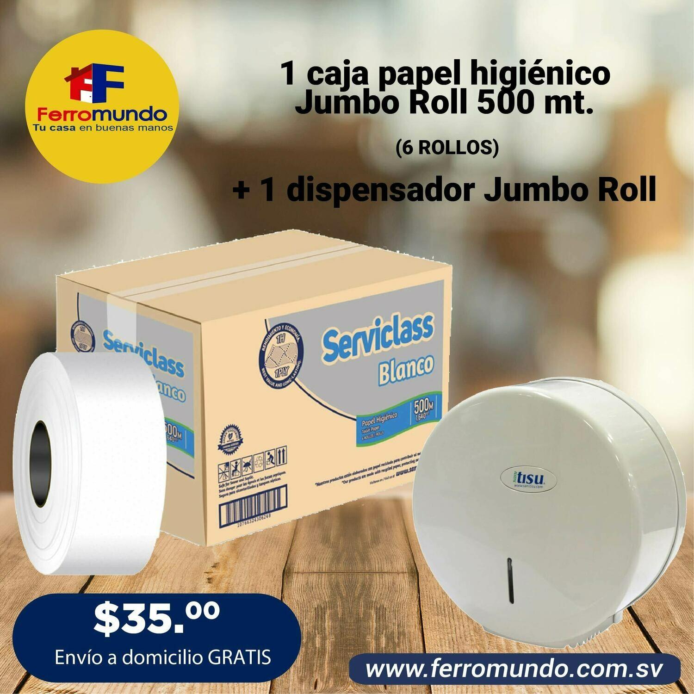 Caja papel higienico Jumbo Roll 500 mt + dispensador