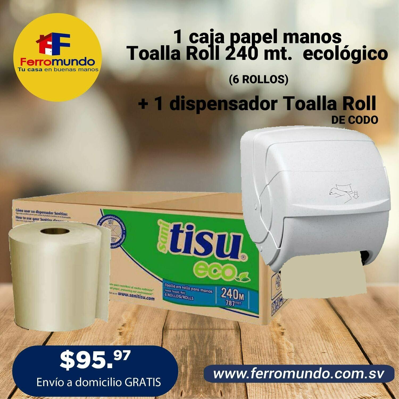CAJA TOALLA ROLL NATURAL 6 U + DISPENSADOR DE CODO