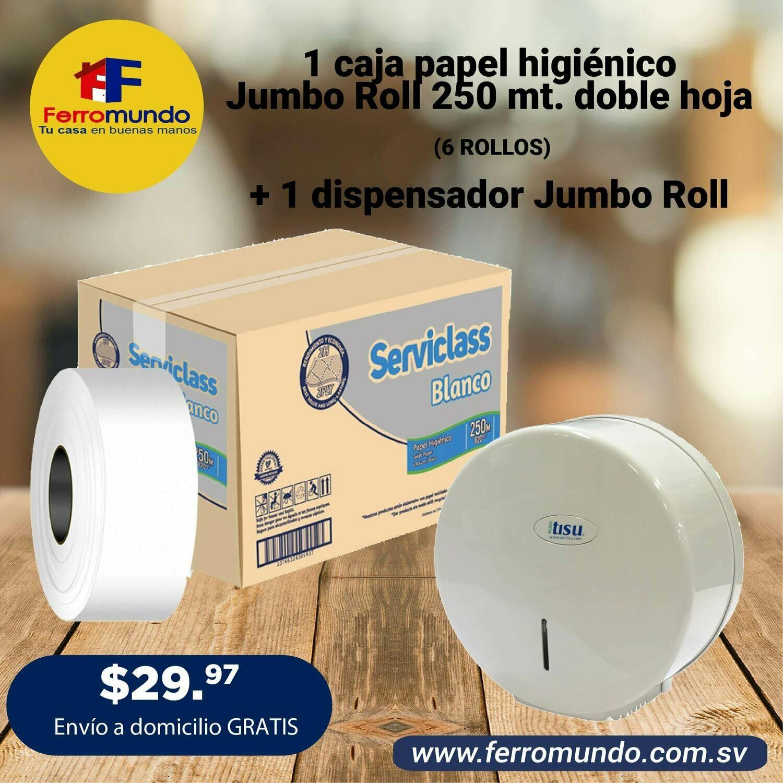 Caja papel higienico Jumbo Roll 250 mt + dispensador