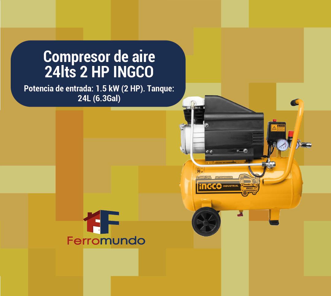 Compresor de aire 24lts 2 HP INGCO