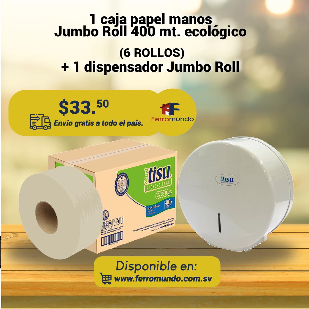 Caja papel higienico Jumbo Roll 400 mt Eco + dispensador