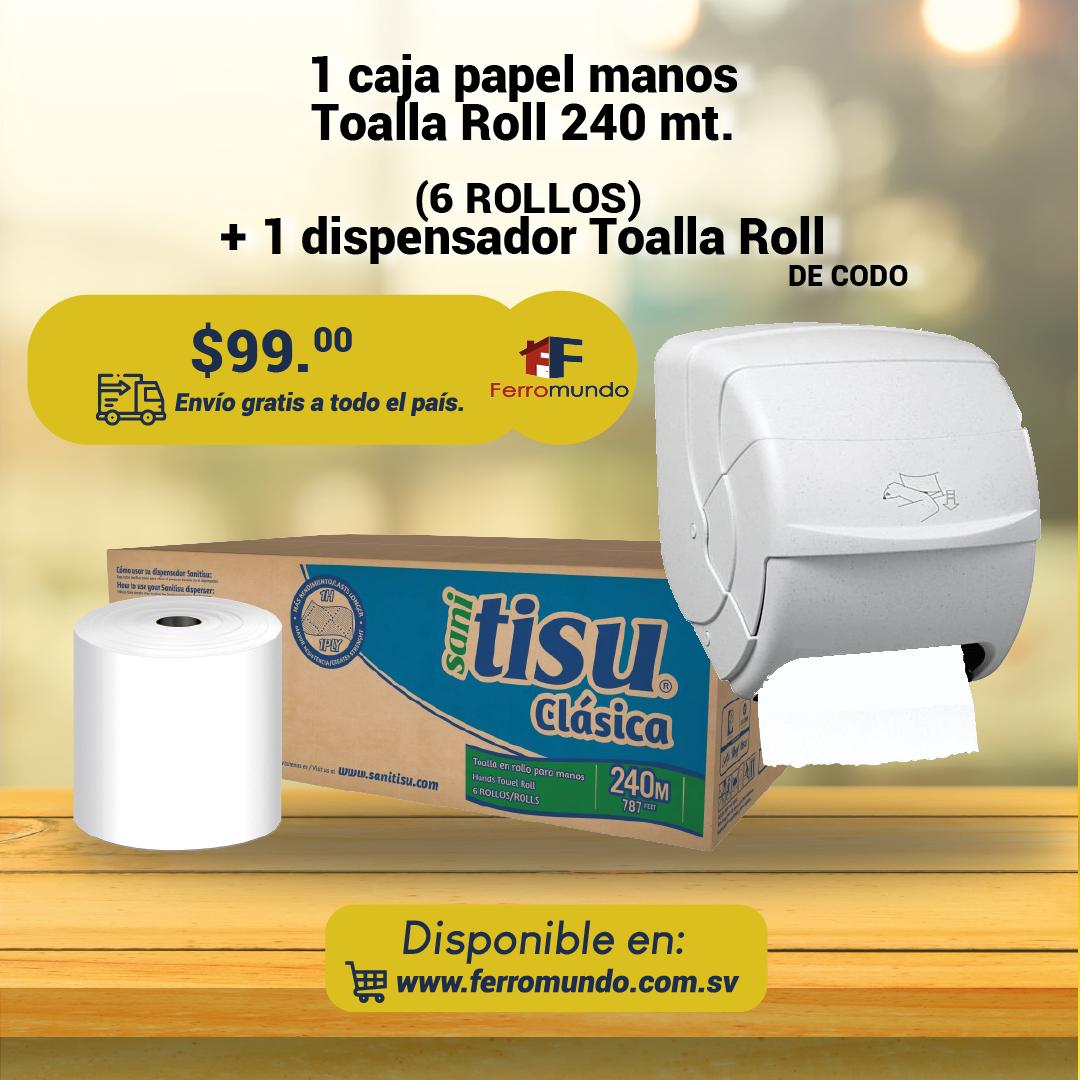 Caja Toalla Roll 6 u. + dispoensador de codo