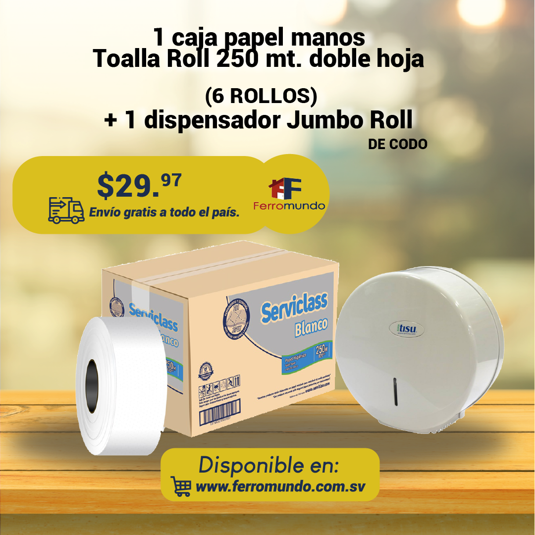 Caja papel higienico Jumbo Roll 250 mt + dispensador