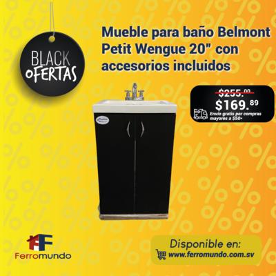 """Mueble para baño Belmont Petit Wengue 20"""" con accesorios incluidos"""