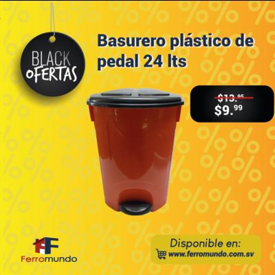 Basurero plástico de pedal 24 lts