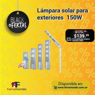 Lámpara solar para exteriores 150W.