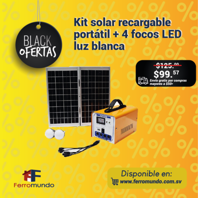 Kit solar recargable portatil + 4 focos LED  luz blanca