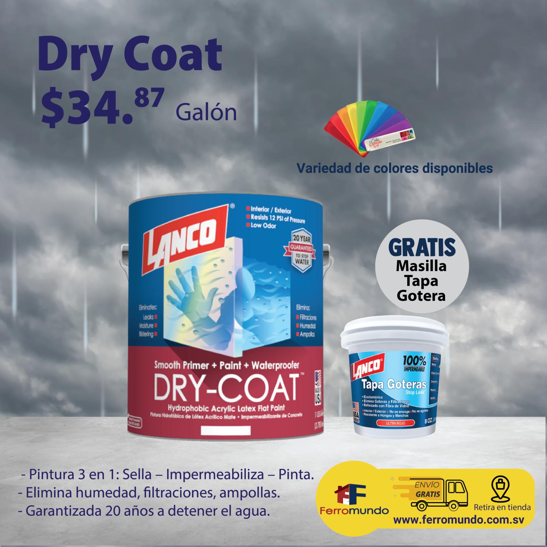 Impermeabilizante paredes Lanco® Dry-Coat galón + masilla tapa gotera