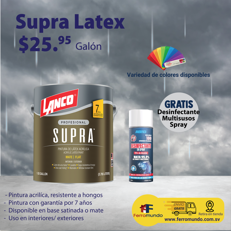 Lanco® SUPRA™  latex  galón + desinfectante spray