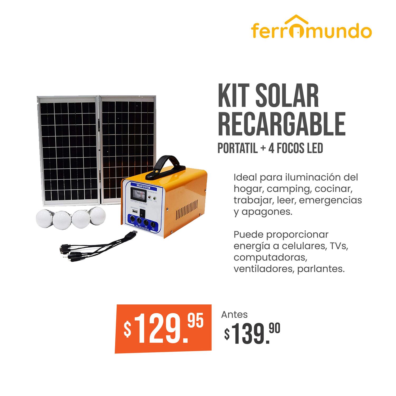 Kit solar recargable portatil + 4 focos LED  luz blanca