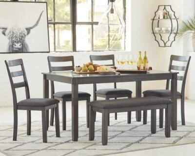 D383-325 Bridson Dining Room Table and Chairs with Bench (Set of 6)