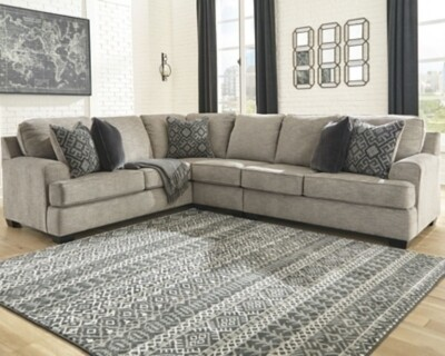 Bovarian Stone LAF Sofa with Corner Wedge, Armless Chair & RAF Loveseat Sectional
