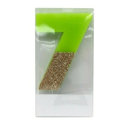 7 Glitter Candle Green