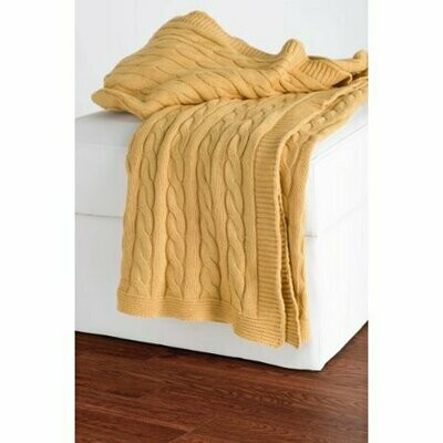 Cable Knit Throw Yellow