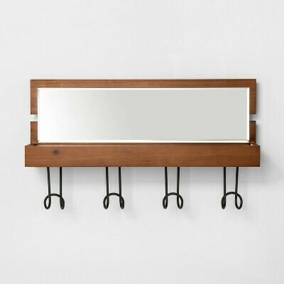 Hook Rail w Shelf & Mirror