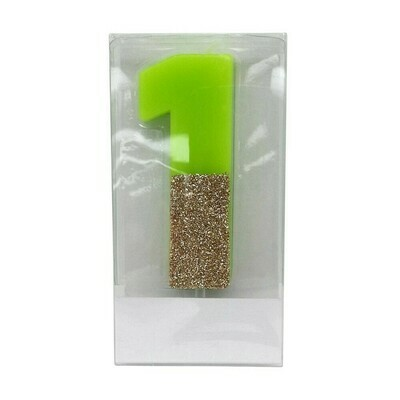 Number 1 Glitter Candle Green/Gold -