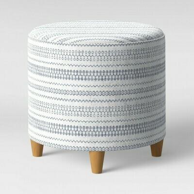 Round Woven Ottoman Blue/White