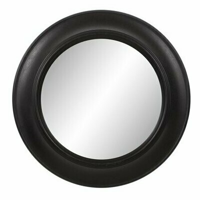 Round Mirror in Distressed Black