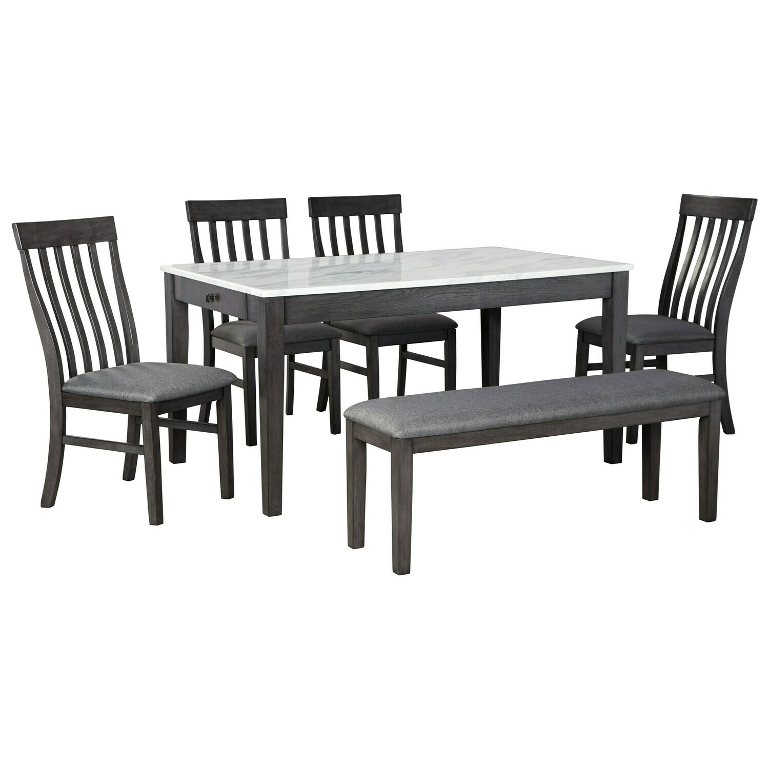 Luvoni 6-Piece Dining Set with Bench and Faux Marble Top Dining Table