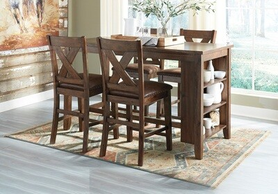 Chaleny - Warm Brown - 5 Pc. - RECT DRM Counter Table & 4 UPH Barstools