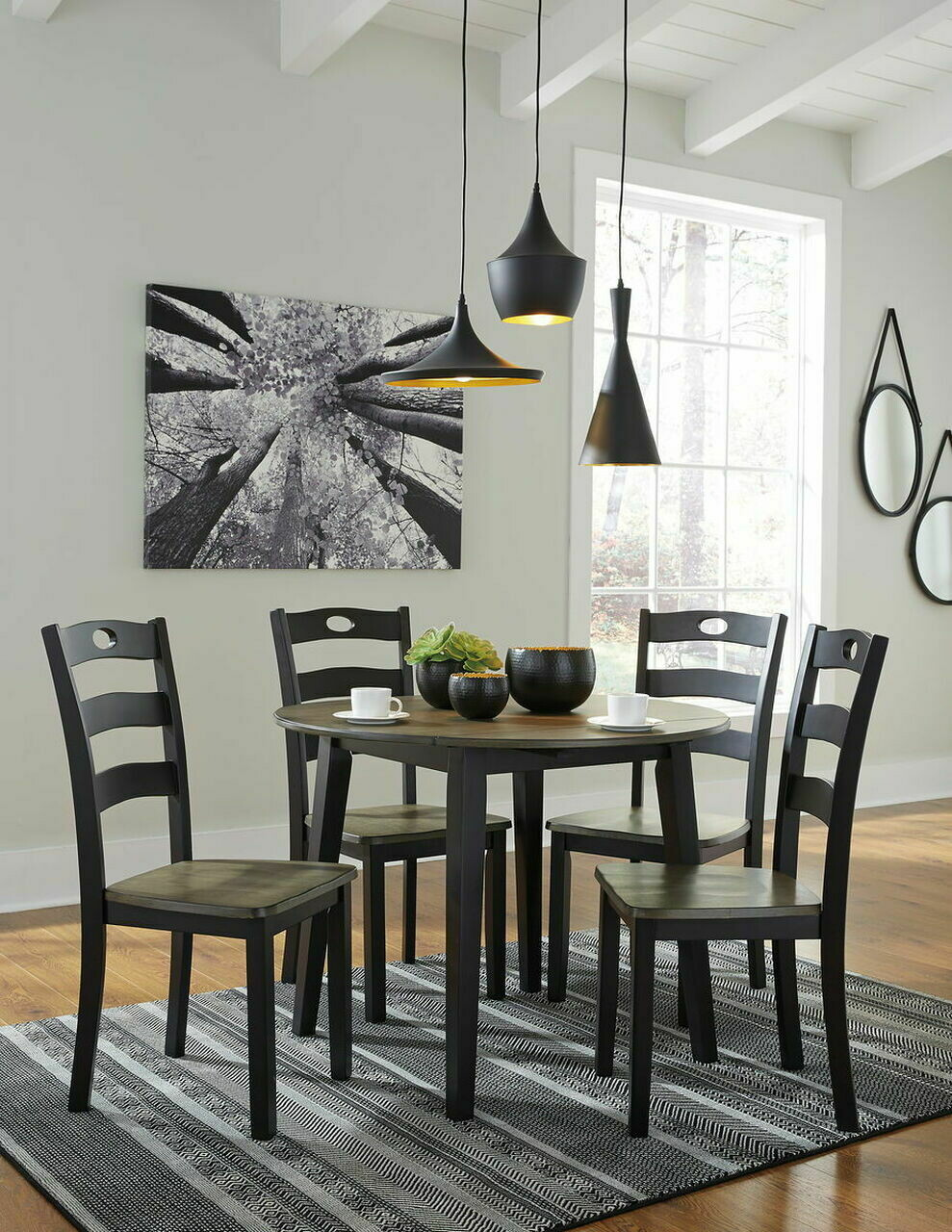Froshburg Grayish Brown/Black 5 Pc. Drop Leaf Table & 4 Side Chairs