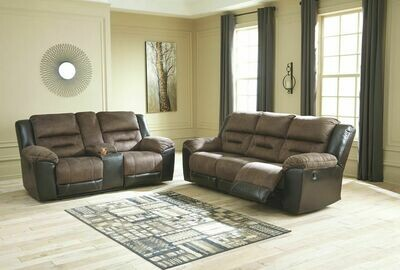 Earhart Chestnut Reclining Sofa & Double Reclining Loveseat with Console