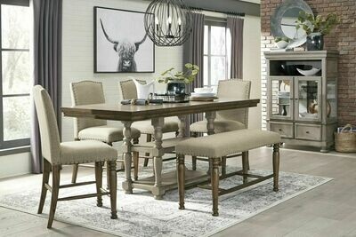 Lettner Gray/Brown 6 Pc. Rectangular Counter Extension Table, 4 Upholstered Barstools & Upholstered Bench
