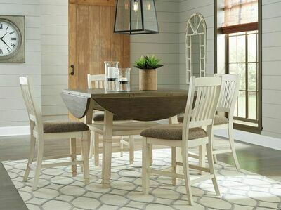 Bolanburg Two-tone 5 Pc. Round Drop Leaf Counter Table & 4 Upholstered Barstools