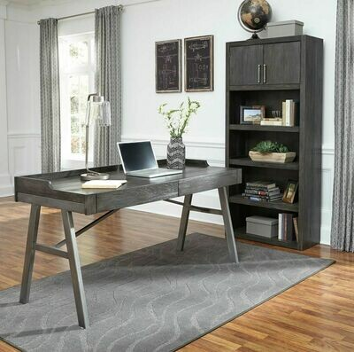 Raventown Grayish Brown Home Office Desk & Large Bookcase