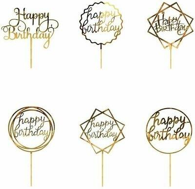 Cake Topper - Gold Happy Birthday