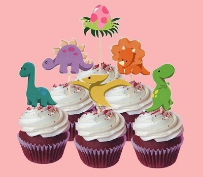 Cupcake Toppers - Set of 6 - Dinosaur
