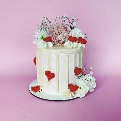 Valentine's Floral Drip Cake
