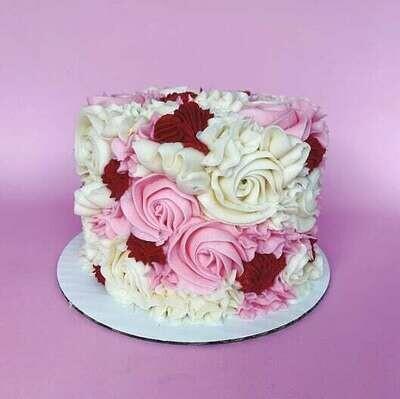 Valentine's Rosette Cake