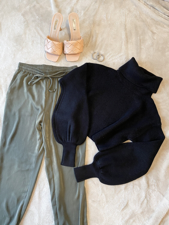 Black Short Turtleneck Sweater