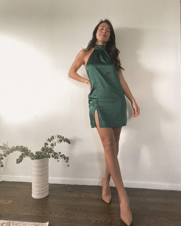 Forest Satin Halter Dress