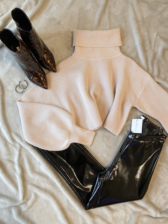 Beige Short Turtleneck Sweater