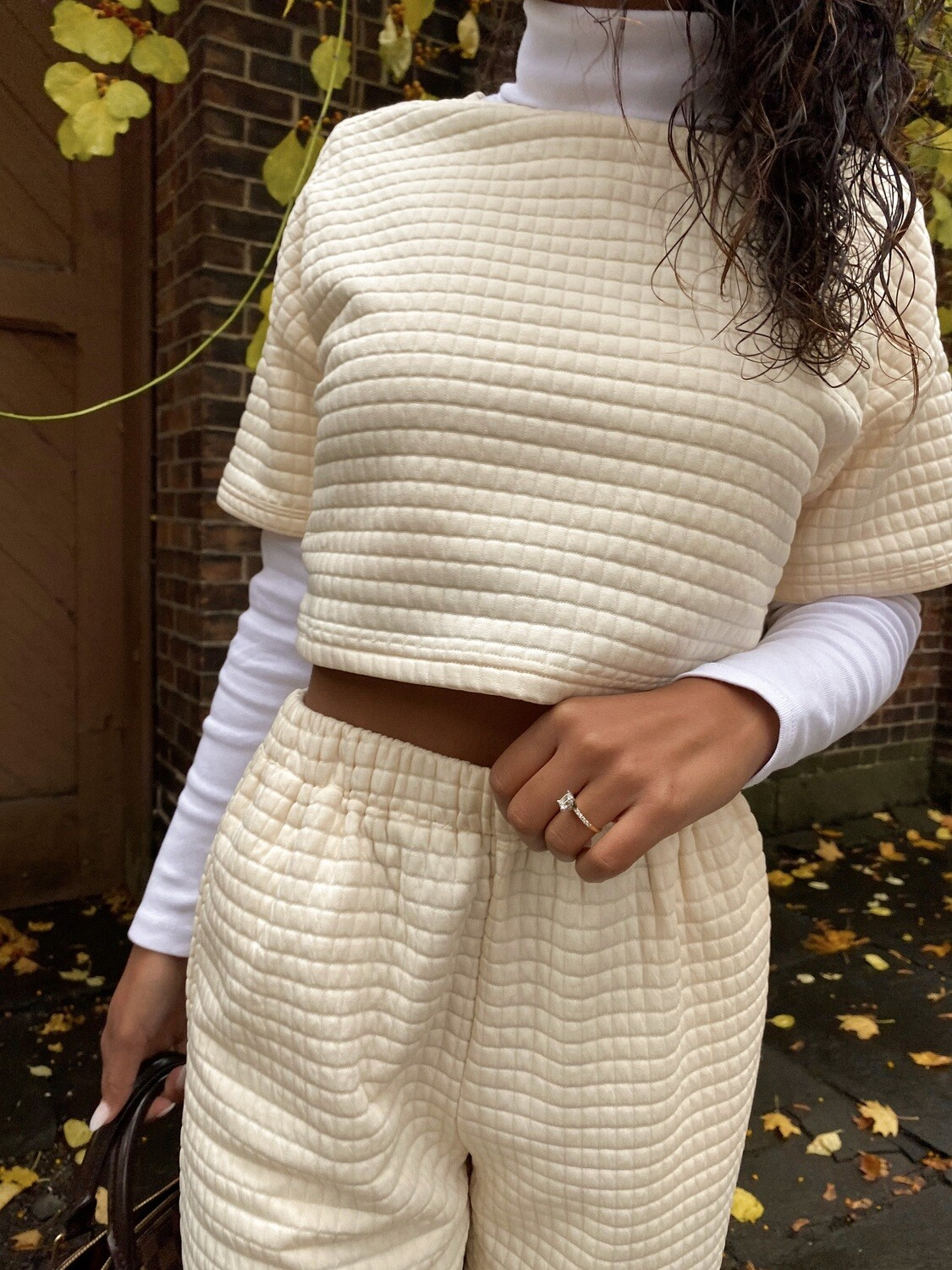Ivory Quilted Crop