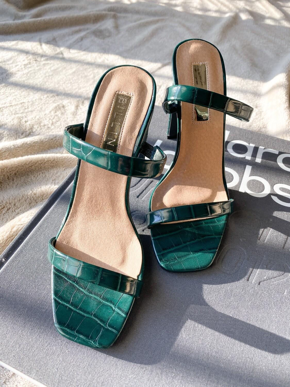 Green Croc Heeled Mule