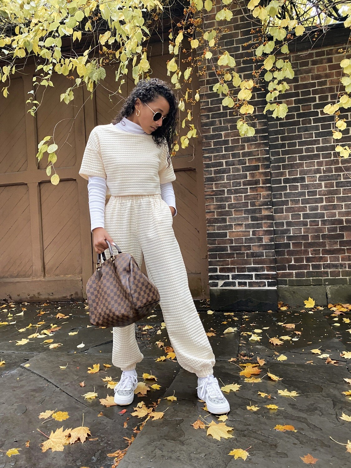 Ivory Quilted Joggers