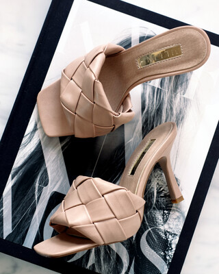 Nude Quilted Mule