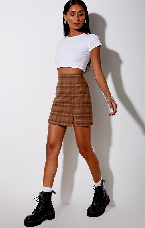 Brown Checkered Mini Skirt