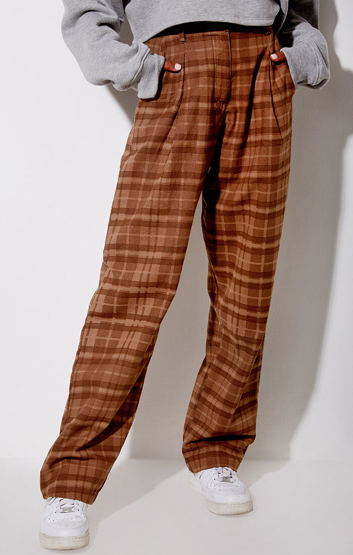 Brown Checkered Baggy Trousers