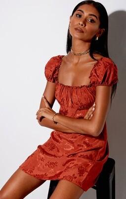 Copper Satin Rose Dress