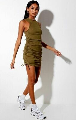 Green Ribbed Ruched Dress